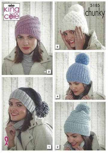 King Cole Pattern 5185, Hats in Chunky yarn